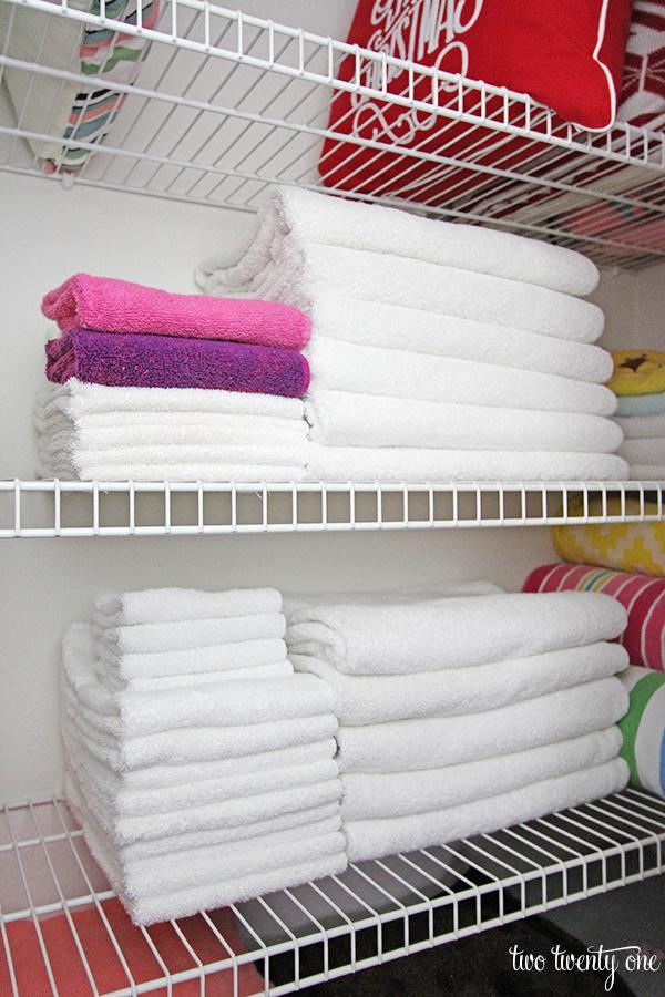 linen closet towel organization