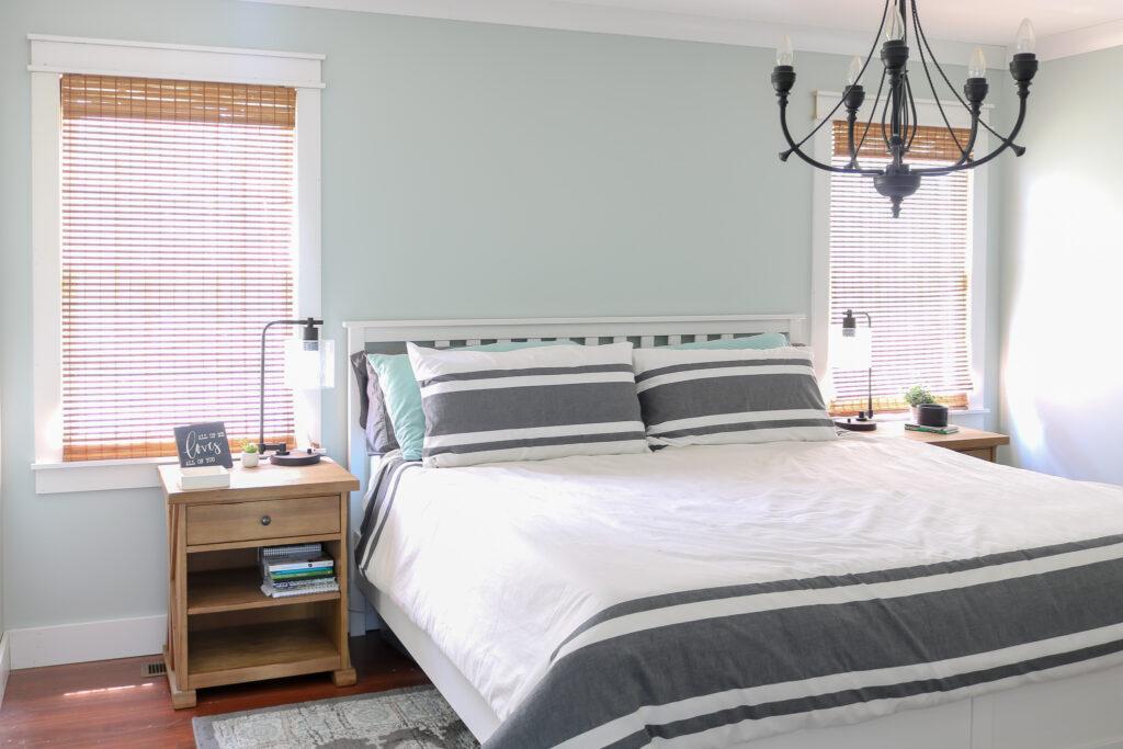 coastal bedroom with Sherwin Williams Sea Salt