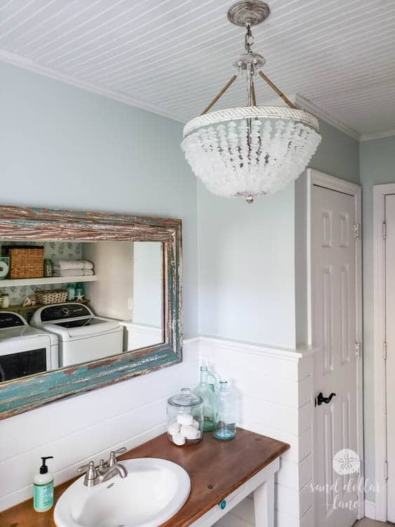 Sherwin Williams Sea Salt in the bathroom or laundry room