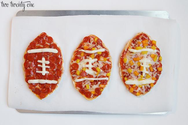 pita pizzas footballs