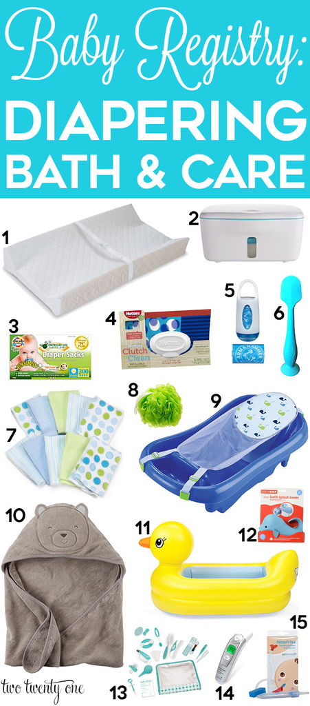 Diapering, bathing, and baby care suggestions to include on your baby registry!