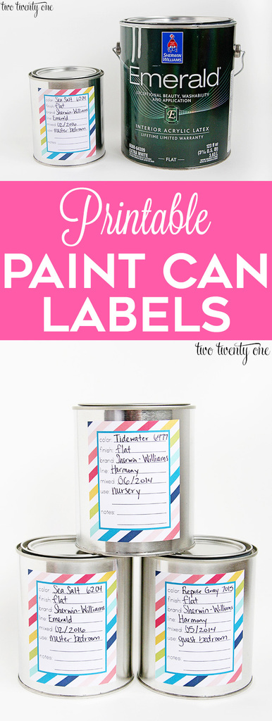 FREE printable paint can labels!