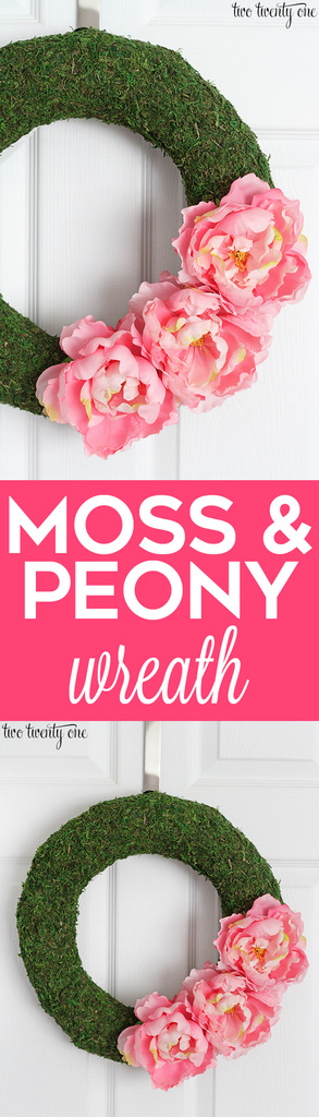 Beautiful moss and peony wreath! Easy to make!