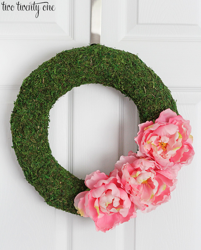 moss and pink peony wreath