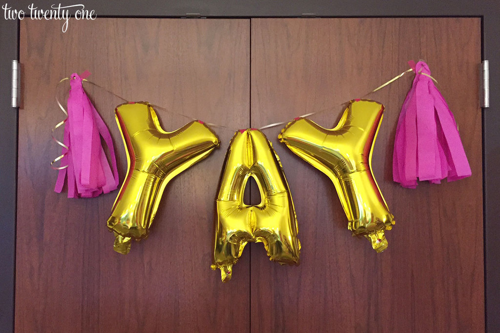 Yay gold balloons for bachelorette party