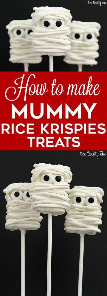 How to make mummy rice krispies treats! These are so cute! Perfect for a Halloween party!