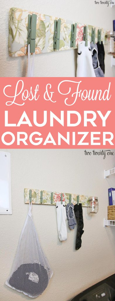 Lost and found laundry room organizer! A place to put loose change and hang socks that are missing their partner! #ad