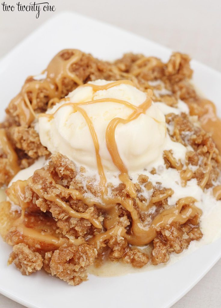 Delicious caramel apple crisp!