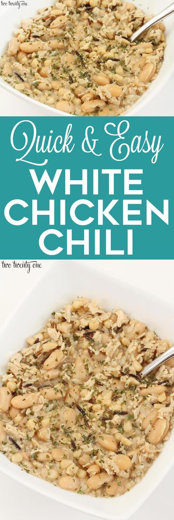 Quick and easy white chicken chili recipe! Perfect for fall and winter meals!