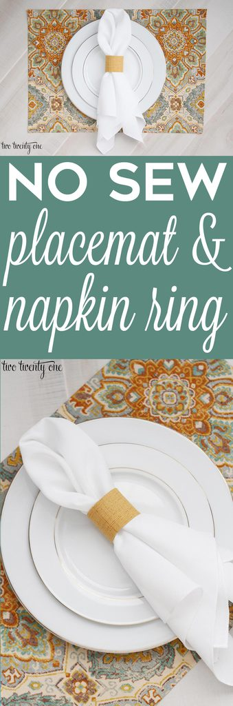 Quick and easy no sew placemat and fabric covered napkin ring!