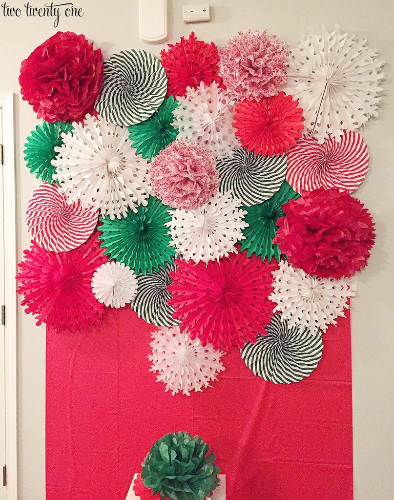 diy tissue paper pom pom and fan backdrop. Black Bedroom Furniture Sets. Home Design Ideas