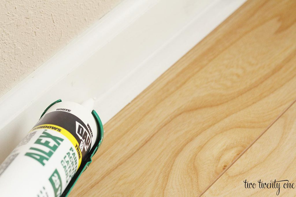 Per The Caulk Instructions I Cut Tip At A 45 Degree Angle Then Used Caulking To Apply Band Of Where Baseboard Met Shoe
