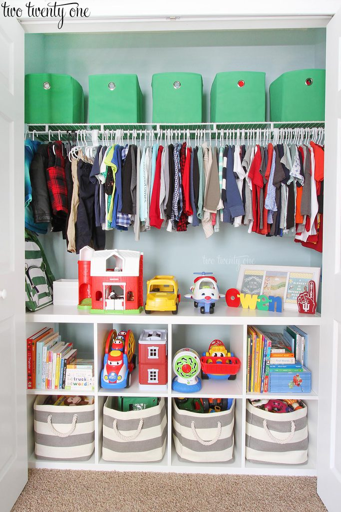 Organized toddler closet Closet toy storage ideas
