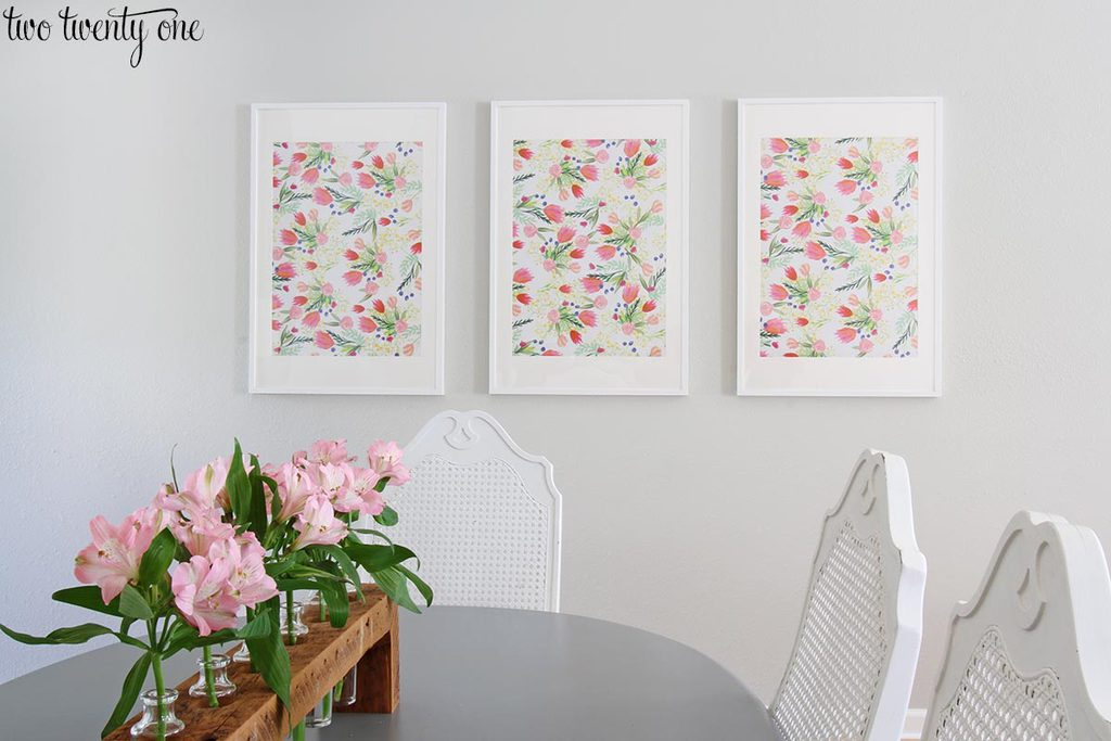 I put pieces of the thimblepress floral wrapping paper in ikea ribba frames