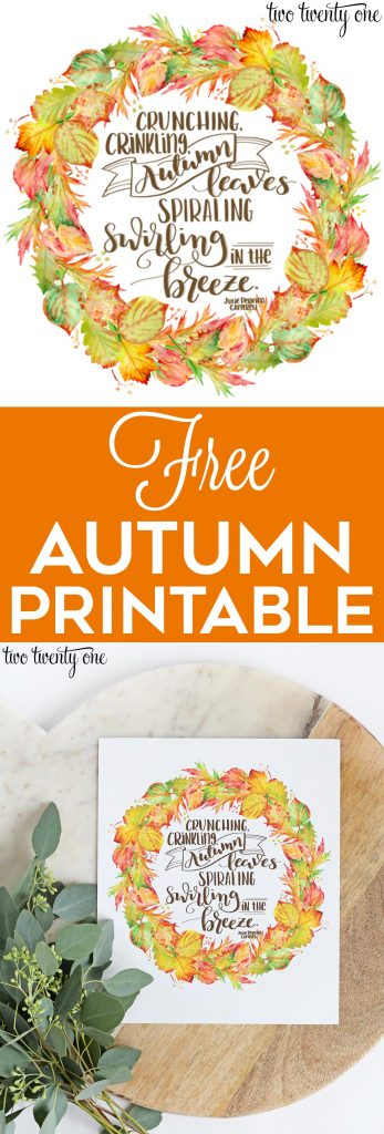 Free autumn printable! Free fall printable!