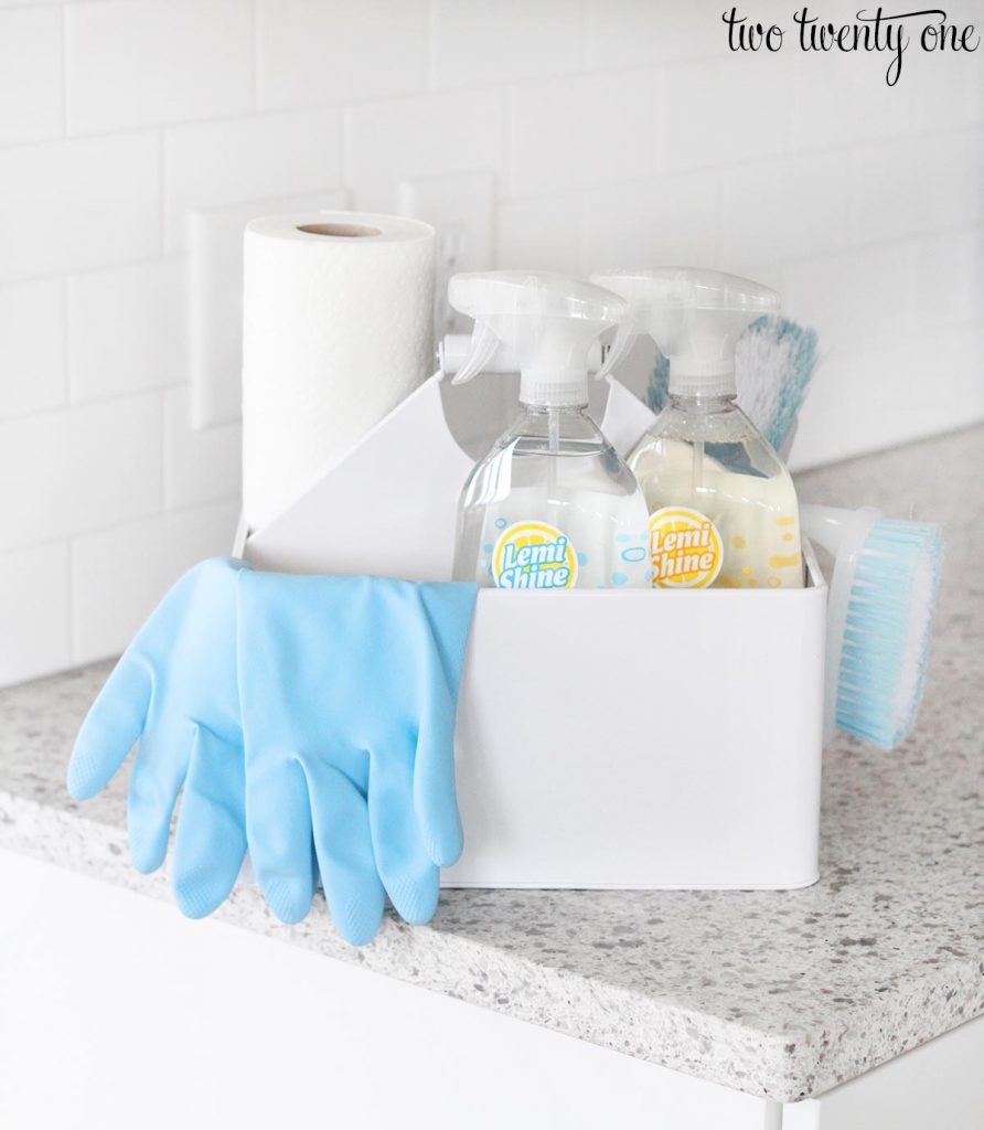 Holiday Cleaning Tips Tricks - Supplies to clean bathroom