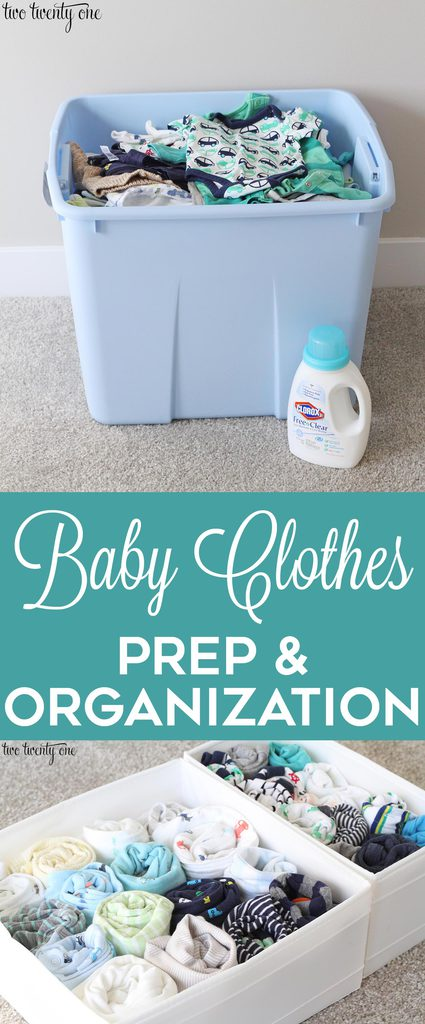 Baby clothes prep and organization! Tips and tricks for cleaning previously-worn baby clothes and organizing them!