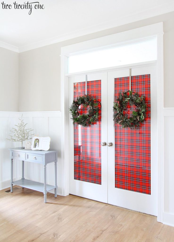 ... the French doors with wrapping paper. A $4 roll of gift wrap from HomeGoods some painters tape and 10 minutes later our entryway looked festive and ... & Decorating French Doors for Christmas