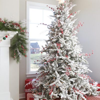 Red and White Flocked Christmas Tree