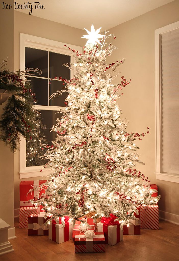 ill share more of our house at night during the christmas nights tour on december 22nd red and white christmas tree - White Flocked Christmas Trees