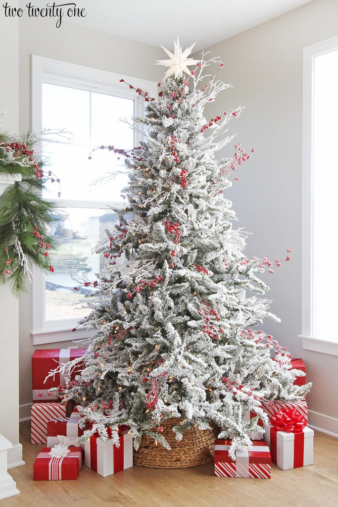 check out my flocked red and white christmas tree here