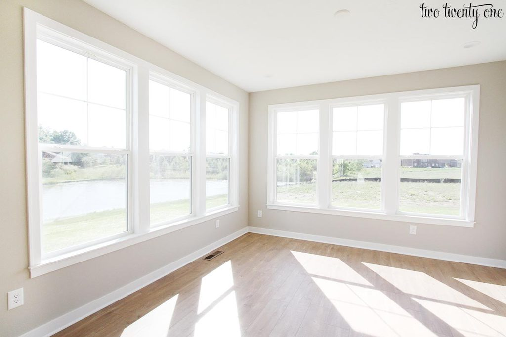 It Has Two Walls With A Trio Of Windows On Each Wall. One Set Faces South  And The Other Faces West. So This Room Gets Tons Of Light Throughout The  Day.