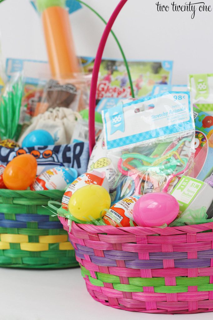 Easter basket ideas for toddlers in case youre wondering the boy basket contains 16 items other than the basket grass and plastic eggs and the girl basket has 15 items negle Images