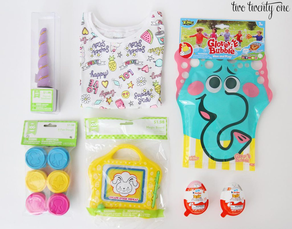 Easter basket ideas for toddlers for this basket i chose a unicorn headband t shirt glove a bubble fun dough magic board great to keep in the car and kinder joy eggs negle Image collections