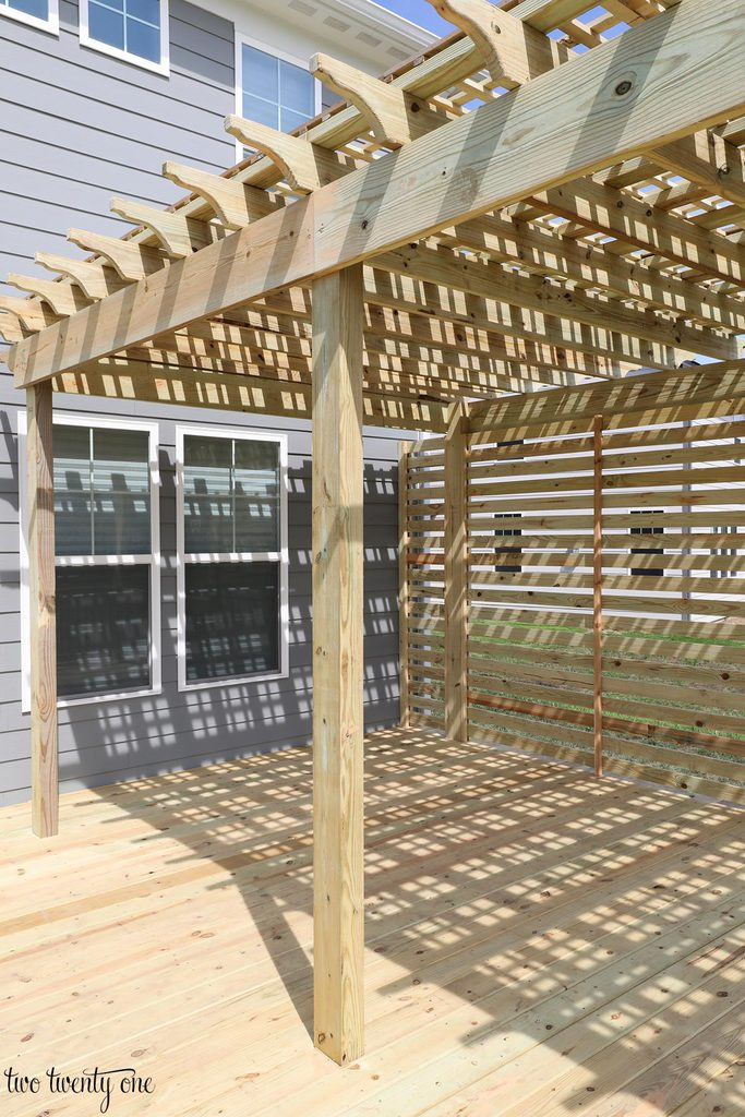... add some sort of shades on this side of the pergola to block the sun so  we can enjoy dinner out on the deck without the sun blasting us in the face. - Deck With Pergola Reveal