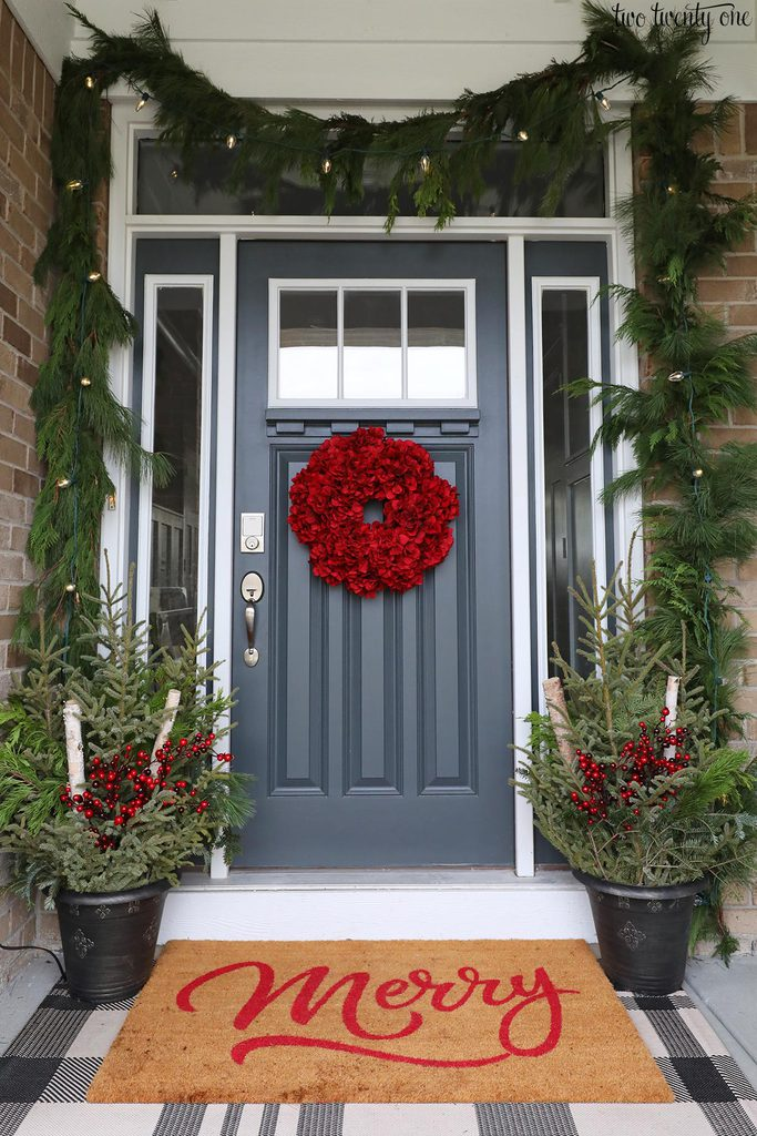 front porch Christmas planters