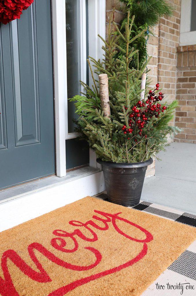 merry door mat with planter