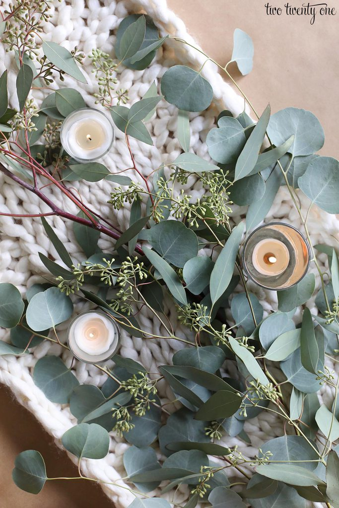eucalyptus and candles