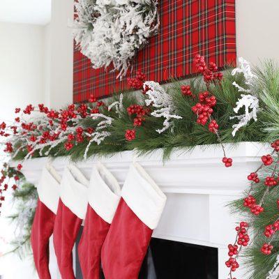 Red Tartan Christmas Mantel