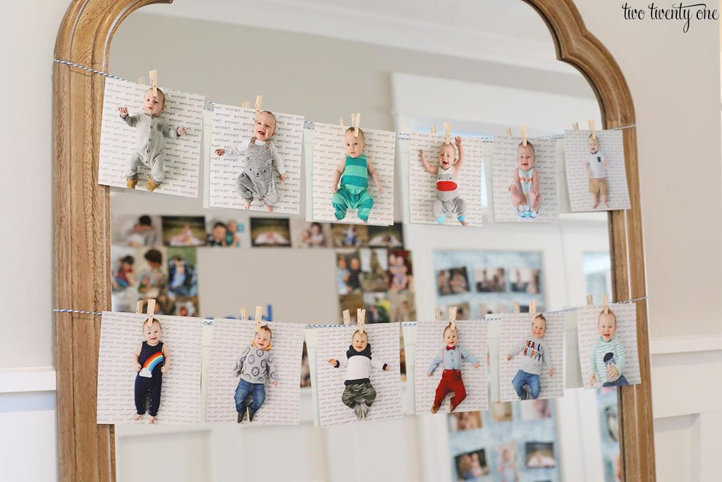 first birthday party photo display