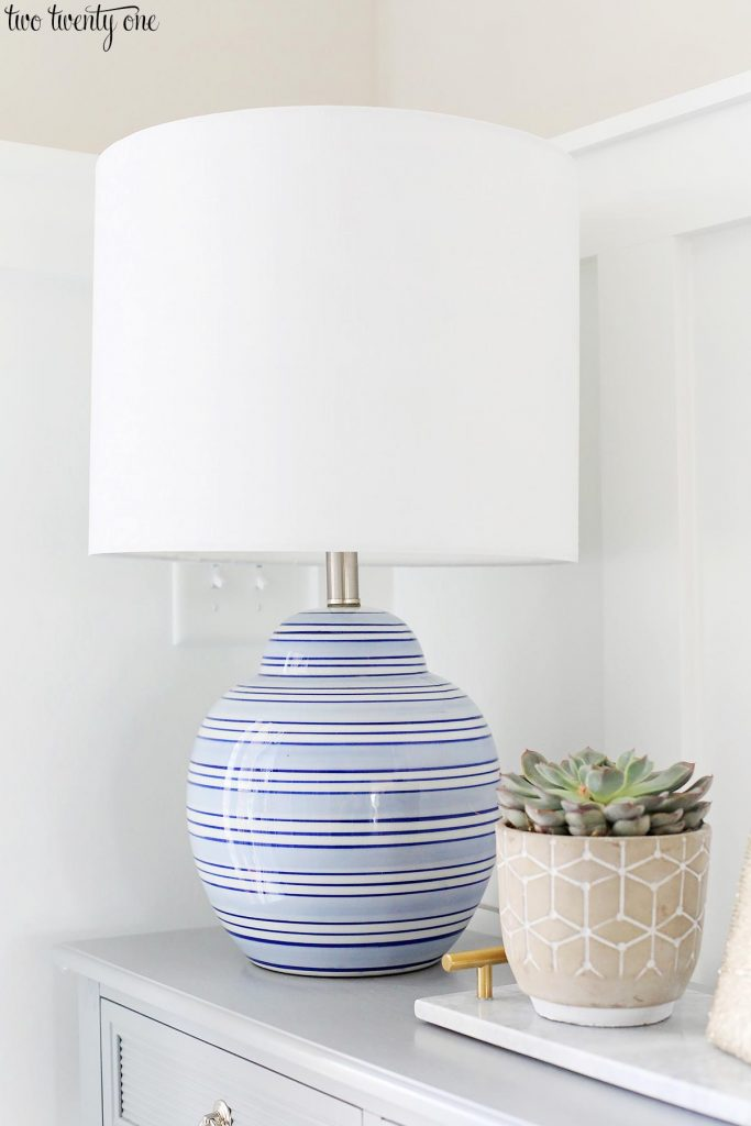 blue striped lamp