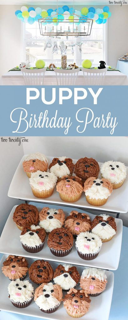 Puppy birthday party! An adorable puppy themed first birthday party! Lots of cute ideas!