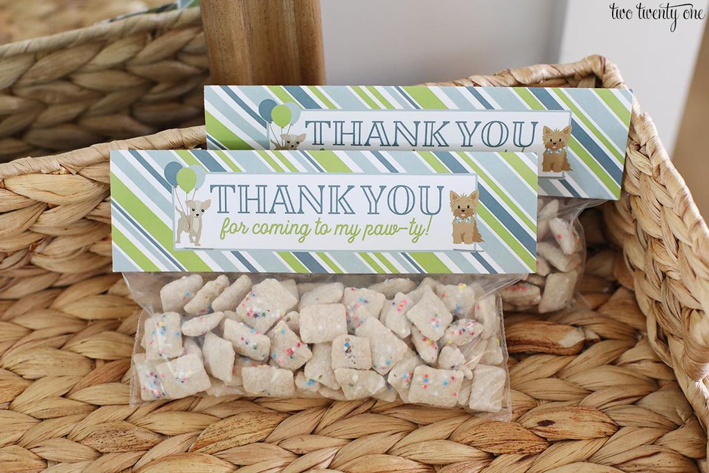 puppy chow birthday party favors