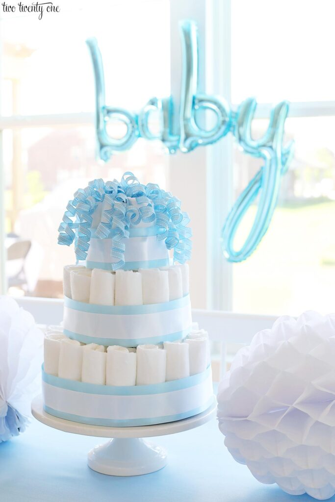 blue and white diaper cake