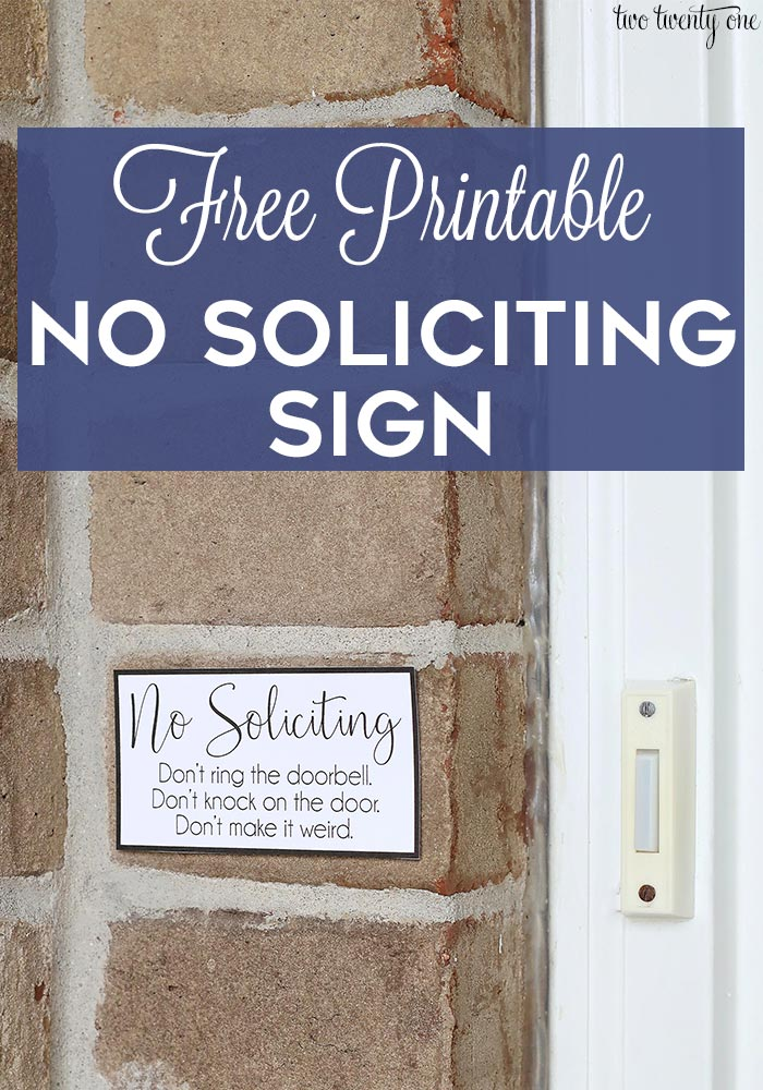 image regarding Free Printable Door Signs called No Soliciting Indicator - Free of charge Printable