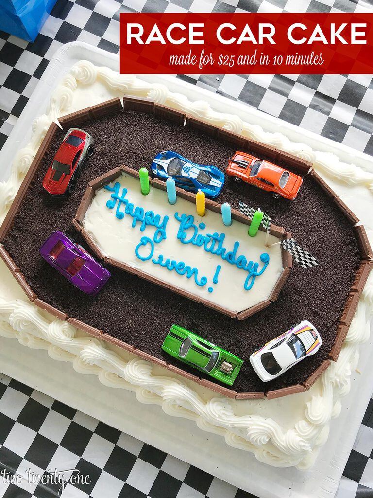 DIY race car cake made with Costco half sheet cake