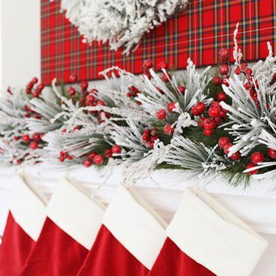 Plaid Christmas Mantel