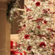 red flocked christmas tree