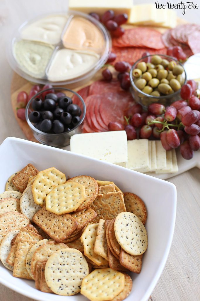 Aldi charcuterie board with crackers