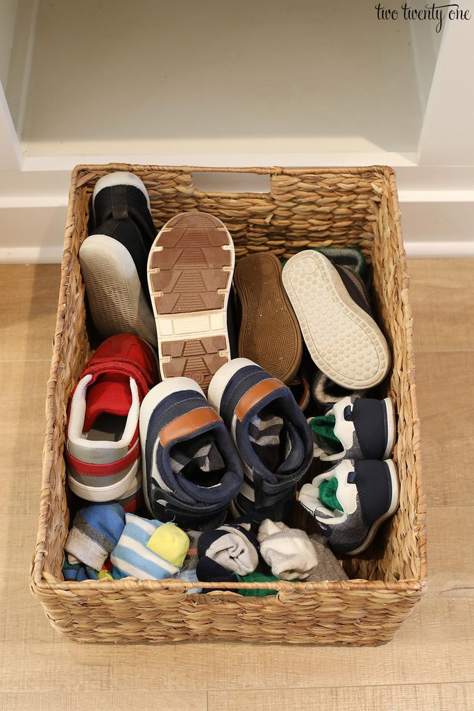 mudroom shoe storage basket
