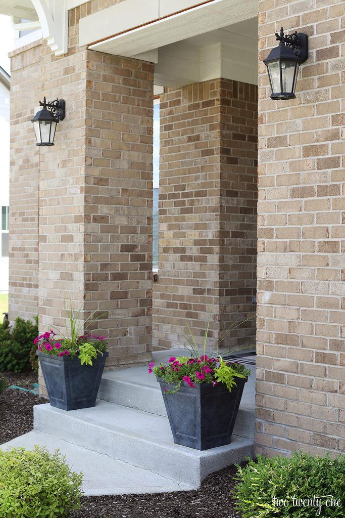 planters on front porch steps