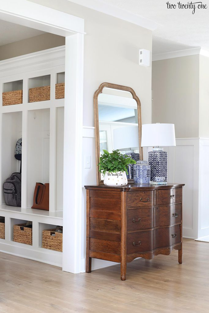 antique dresser and built-in lockers