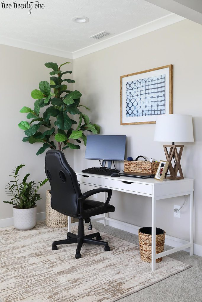 home office area in bedroom
