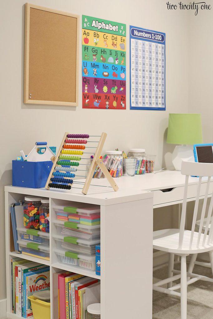 homeschool desk set up