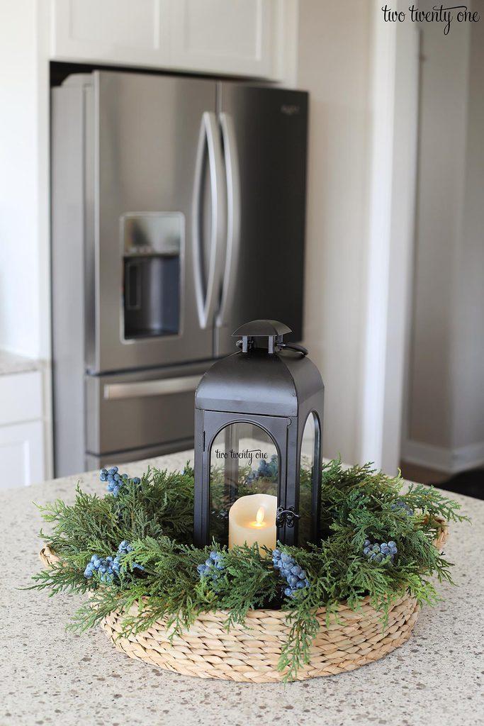 wreath and lantern centerpiece