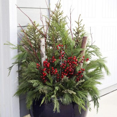 Christmas outdoor planter